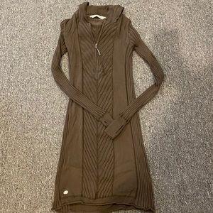 Athleta V Ribbed Hooded Sweater Dress Size M